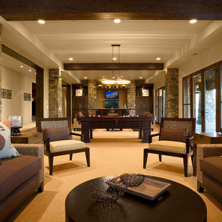 Example of a mountain style living room design in Salt Lake City