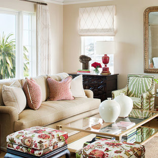 Living room - traditional enclosed living room idea in San Francisco with beige walls
