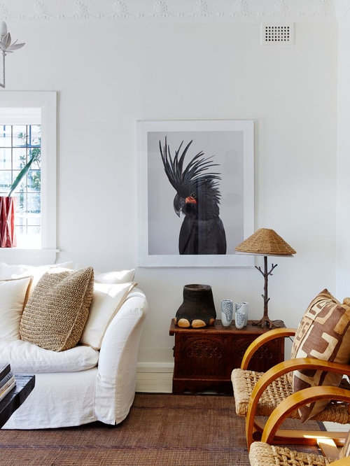 Mid Sized Eclectic Living Room Idea In Sydney With White Walls
