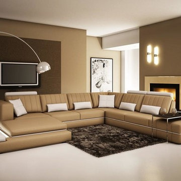 Tan and White Bonded Leather Sectional Sofa with Adjustable Headrests