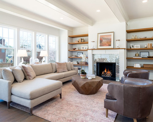 Example Of A Transitional Dark Wood Floor And Brown Floor Living Room Design  In Charlotte With