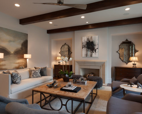 Inspiration For A Large Transitional Formal And Open Concept Medium Tone  Wood Floor Living Room Remodel