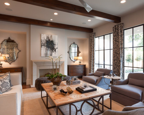 Large Transitional Formal And Open Concept Medium Tone Wood Floor Living  Room Idea In Houston With