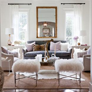 Esempio di un soggiorno classico chiuso con pareti bianche e nessuna TV