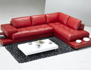 Tango - Red Leather Sectional Sofa