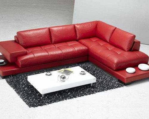 Red Leather Sectional Home Design Ideas Pictures Remodel