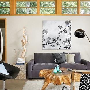 Modelo de salón asiático con paredes blancas
