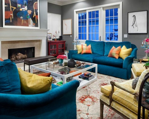Peacock Blue Couches Design Ideas & Remodel Pictures | Houzz
