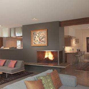 Esempio di un grande soggiorno minimalista aperto con camino classico, sala formale, pareti grigie, pavimento in cemento, cornice del camino in metallo e nessuna TV