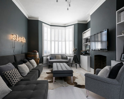 image gallery of dark grey living room
