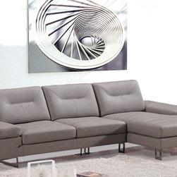 Taupe Leather Sectional Sofa with Chaise - Features: