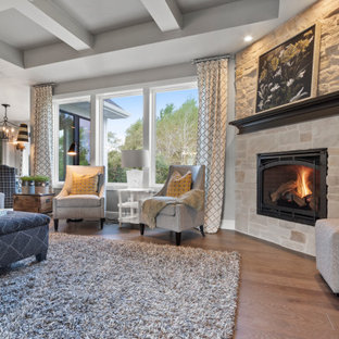 他の地域の中サイズのビーチスタイルのおしゃれなLDK (グレーの壁、無垢フローリング、コーナー設置型暖炉、石材の暖炉まわり、据え置き型テレビ、茶色い床) の写真