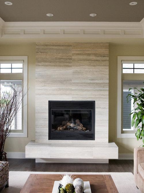 Limestone Fireplace Tile : Limestone tile fireplace houzz