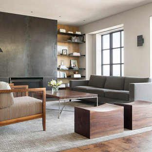 Inspiration for a mid-sized contemporary formal and enclosed living room remodel in San Francisco with white walls, a standard fireplace, a metal fireplace and a concealed tv