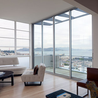 Inspiration for a modern living room library remodel in San Francisco
