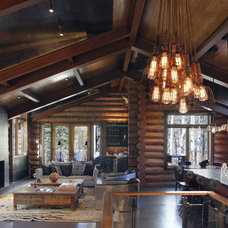 rustic living room by TruLinea Architects Inc.