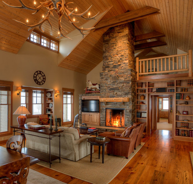 Farmhouse Living Room by Dan Nelson, Designs Northwest Architects