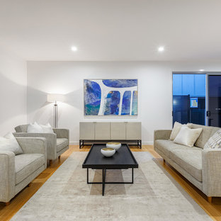 Design ideas for a contemporary living room in Brisbane with white walls, medium hardwood floors and brown floor.