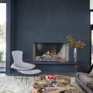 Inspiration för moderna vardagsrum, med svarta väggar