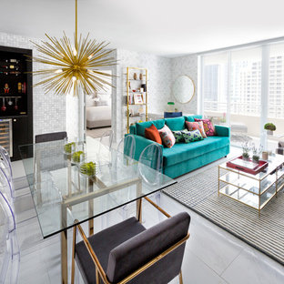 Living room - small eclectic formal and open concept porcelain floor and white floor living room idea in Miami with black walls and a media wall