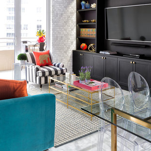 Design ideas for a small bohemian formal open plan living room in Miami with black walls, porcelain flooring, a built-in media unit and white floors.