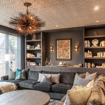 Living room - mid-sized contemporary enclosed light wood floor and brown floor living room idea in Chicago with gray walls, no fireplace and no tv