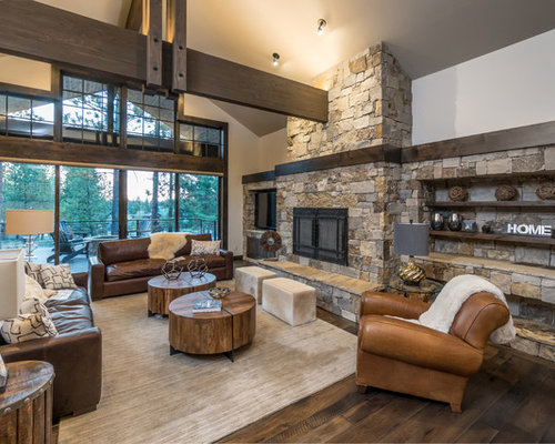 Large Rustic Formal Open Concept Living Room Idea In Other With Gray Walls Medium Tone