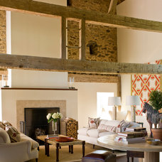 Farmhouse Living Room by Michelle Drollette Architect