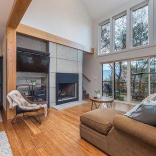 小さいインダストリアルスタイルのおしゃれなLDK (白い壁、竹フローリング、標準型暖炉、コンクリートの暖炉まわり、埋込式メディアウォール、茶色い床) の写真