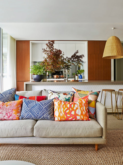 Inspiration For A Mid Sized Contemporary Open Concept Carpeted Living Room Remodel In Sydney With