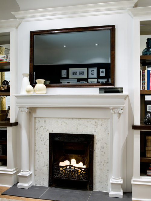 Tv behind mirror houzz for Living room mirrors for sale