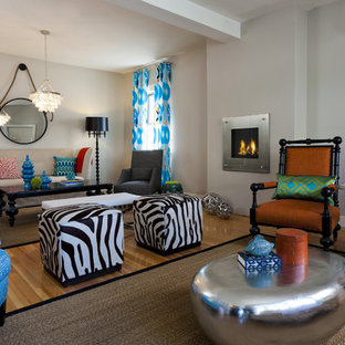 Large eclectic open concept beige floor living room photo in Providence