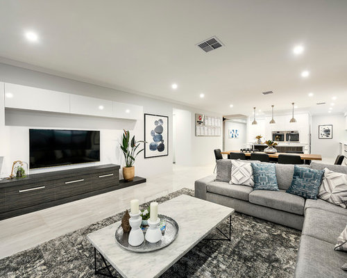 Large Contemporary Open Concept Living Room In Perth With White Walls,  Porcelain Floors And A
