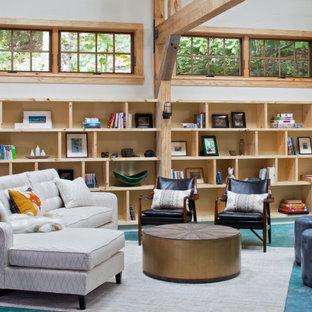Imagen de salón de estilo de casa de campo con paredes blancas y suelo turquesa