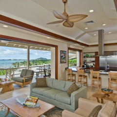 tropical living room by Archipelago Hawaii, refined island designs