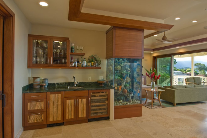 Tropical living room by archipelago hawaii luxury home designs - Decorative fish tanks for living rooms ...