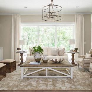 Idées déco pour un salon classique ouvert et de taille moyenne avec une salle de réception, un mur beige, un sol en bois foncé, une cheminée standard, un manteau de cheminée en carrelage et un sol marron.