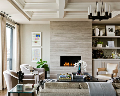 example of a large transitional formal open concept living room design in boston with beige walls
