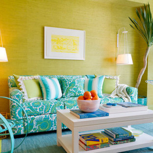 Inspiration for a contemporary living room remodel in New York with green walls