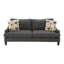 The Casey - The Casey is a charming modern collection featuring a graphite colored fabric with colorful accent pillows for a stylish look. Photo: Jerome's Furniture