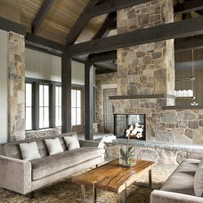 Rustic Living Room by Linda McDougald Design | Postcard from Paris Home