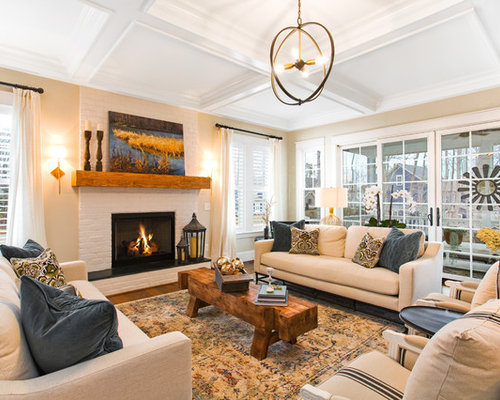 Inspiration For A Timeless Enclosed Living Room Remodel In Richmond With Beige Walls Standard