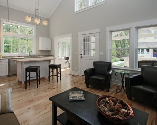 Example Of An Arts And Crafts Open Concept Light Wood Floor Living Room  Design In Indianapolis Part 95