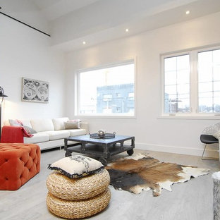 Inspiration for a scandi formal living room in Toronto with white walls and painted wood flooring.