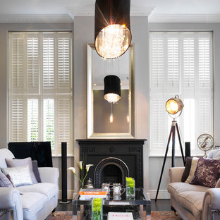 Inspiration for a victorian living room remodel in London with gray walls