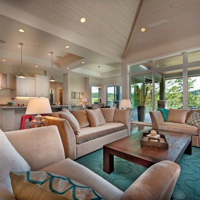 Inspiration for a contemporary open concept living room remodel in Vancouver with beige walls
