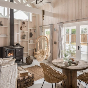 Inspiration For A Small Rustic Enclosed Gray Floor Living Room Remodel In Cornwall With Beige Walls