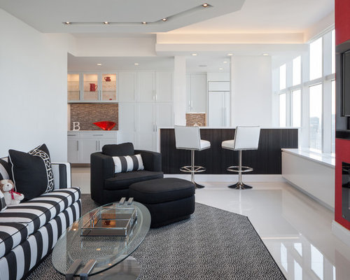 Example Of A Trendy Open Concept White Floor Living Room Design In New York  With White Part 72