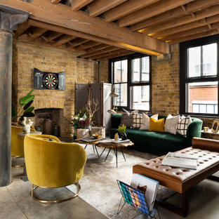 Inspiration for a large urban open plan living room in London with brown walls, a standard fireplace, a brick fireplace surround, grey floors, a wood ceiling and brick walls.