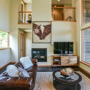Country Enclosed Dark Wood Floor And Black Floor Living Room Photo In  Seattle With Beige Walls